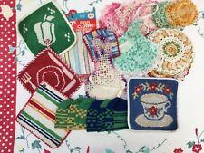 18 Vintage Potholders, Crocheted Egg Cozies & Coasters, Detergent Dresses