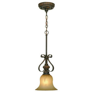 Ocatavia Collection 1-Light Leather Crackle Mini Pendant by Golden Lighting