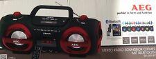 AEG SR 4359 Bluetooth MP3 CD Player USB  UKW  Soundbox Ghettoblaster Boombox ROT