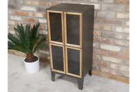 Industrial Metal Display Cabinet 2 Doors 2 Compartments Storage Organiser