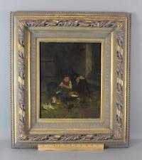 19thC Antique WILHELM VELTEN German Oil Painting Young Farm Boy w/ Dog & Cats NR