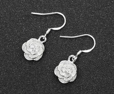 Wholesale Fashion Womens Jewelry 925 Silver Plated Rose Flower Dangle Earrings