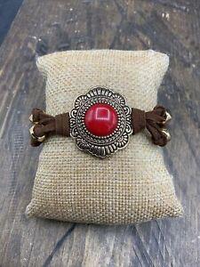 Barse Sirena Toggle Bracelet- Magnesite & Bronze- Leather- NWT