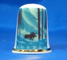 Birchcroft China Thimble -Travel Poster Series - Sweden - Free Dome Box