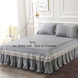 3pcs Bedding Set Bed Skirt Pillowcases Home Bedspread Fitted Sheet Lace Ruffle