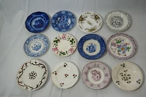 ANTIQUE STAFFORDSHIRE CUP PLATES TRANSFER WARE FLOW BLUE 4in LOT OF 12 1800s a