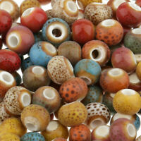 100Pcs 6mm Colorful Beads Ceramic Porcelain For DIY Jewelry Making Vintage Charm