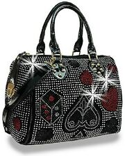 Rhinestone Black Playing Card Suits Satchel Design Attachable Strap