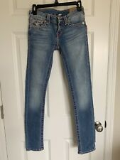 TRUE RELIGION Women's Jeans Size 26 Skinny With Flap And Pink Stitching