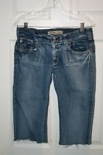 Big Star Casey K Capri Cropped Cut Off Low Rise Jean Embroidered Denim Womens 30