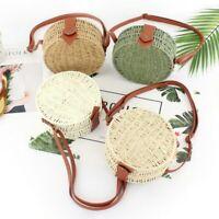 Summer Wicker Bag Round Handmade Straw Bags Beach Weave Cross Body