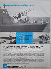 7/1982 PUB EMERSON DEFENSE SYSTEMS EMERLEC 30 NAVAL SYSTEM ORIGINAL FRENCH AD