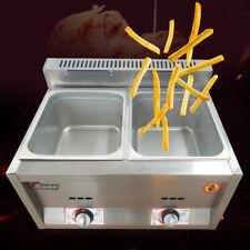 12l Gas Fryer 6l2 Wells Pan Stainless Steel Kitchen Countertop Food Deep Fryer