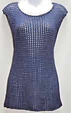 Trina Turk Dolman Knit Sweater Top Vest Sleeveless Blouse Tunic Navy Blue M