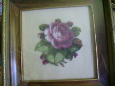 Pinkish Burgundy Rose & Buds FINISHED Petit Point Picture -Alice Godkin Design-4