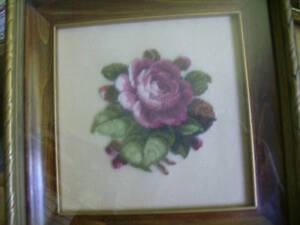 Pinkish Burgundy Rose & Buds FINISHED Petit Point Picture -Alice Godkin Design-4