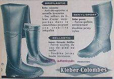 PUBLICITE KLEBER COLOMBES BOTTE CUISSARDE BOTTILLON PECHE DE 1957 FRENCH AD PUB