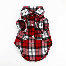 New Small Pet Dog Puppy Plaid T Shirt Lapel Coat Cat Jacket Clothes Costume XS-L