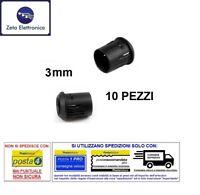 10PZ PORTALED CONICO FISSAGGIO PER LED 3mm SUPPORTO PLASTICA DA INCASSO PANNELLO