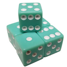 5 Pastel Aqua Green Color 6 Sided Dice Square  White Pips 16mm Organza Bag