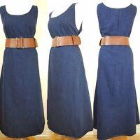 Vintage Ladies Dark Blue Denim Long Sleeveless Shift Dress Size 12 Country