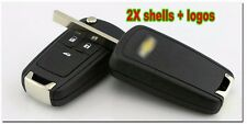 2x Flip Key Shell for chevy Remote Key Case Camaro/Cruze/Equinox/Malibu 3 Button