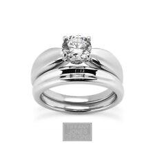 3/4ct F VS2 Rund Erde Abgebaut Zertifizierte Diamant 14k Gold Ring Mit Ehering