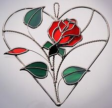 Stain Glass Red Rose on Heart Ring