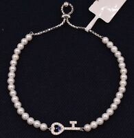 4mm Freshwater White Pearl CZ Key Charm Adjustable Bracelet White Silver 925