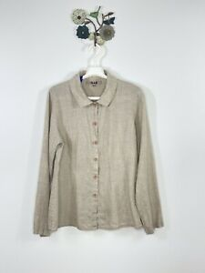 FLAX Oatmeal Top Size Small Linen Lagenlook Button Up Collared Shirt Jacket