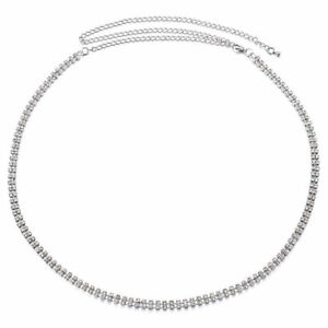 One Size 2 Row Waist Chain Belts with Diamante in Silver Colour Dress Jeans UK