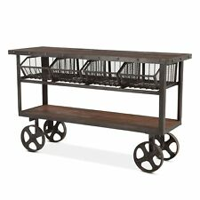 "60.5"" L Industrial Utility Cart Reclaimed Solid Teak Wood with Recycle Iron"