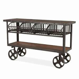 """60.5"""" L Industrial Utility Cart Reclaimed Solid Teak Wood with Recycle Iron"""