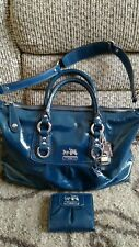 "Coach ""ASHLEY"" Blue Patent Leather Carryall, Satchel, Handbag, Purse No. F14178"