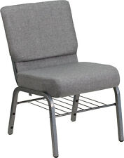 LOT OF 50 21'' EXTRA WIDE GRAY CHURCH CHAIR BOOK RACK - SILVER VEIN FRAME