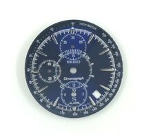 USED SEIKO 7T32 - 9000 BLUE CHRONO. ALARM DATE DIAL + BLUE TACHYMETER WATCH PART