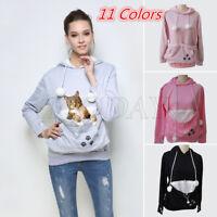 Women Kangaroo Pet Dog Cat Holder Carrier Coat Pouch Large Pocket Hoodie GIFT