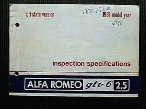 "Alfa Romeo "" gtv6 2.5 "" 1981 Model Year INSPECTION Specifications MANUAL"