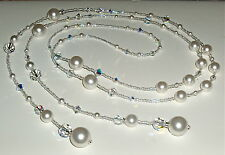 Lariat/Wrap Necklace of Swarovski White Pearls and Crystals