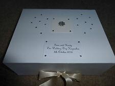 Large Wedding Keepsake Box Personalised Memory Box Gift Ivory Diamante Stunning*