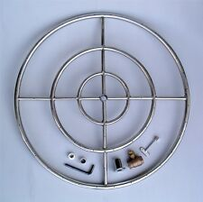 """30"""" SS High Capacity FIRE PIT TRIPLE RING BURNER with 3/4"""" Valve Gaslogs Glass"""