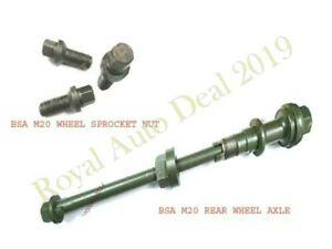 BSA M20 REAR WHEEL AXLE ASSEMBLY (REPRODUCTION) + WHEEL NUT