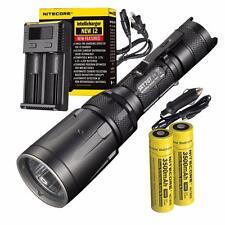 Nitecore SRT7GT Flashlight Bundle - 2x 18650 Batteries, i2 Charger & Car Adapter