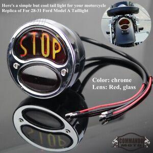 Chrome Tail Light Brake Stop Lamps For FORD Custom Rat Hot Rods Truck For Harley