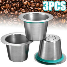 3Pcs Reusable Refillable Stainless Steel Coffee Capsule Refill Cup For Nespresso