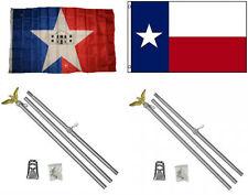 3x5 City of San Antonio & State of Texas Flag & 2 Aluminum Pole Kit Sets 3'x5'