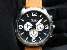 New Old Stock - FOSSIL NATE JR1486 - Black Dial Leather Strap Quartz Men Watch
