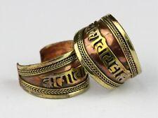 Pair Beautiful Adjustable Tibetan 3-color Copper Mantra Om Mani Amulet Ring