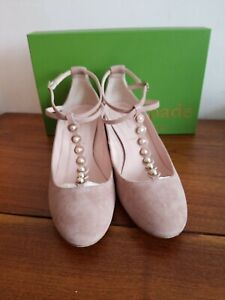 KATE SPADE GALEWOOD FAWN/KID SUEDE, FAWN PATENT HEEL SHOES SZ 9 EUC $245