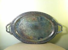 """Vintage Atq Oneida Silver Plated Waiter Serving Tray Platter- 24"""" Long-USA MADE"""